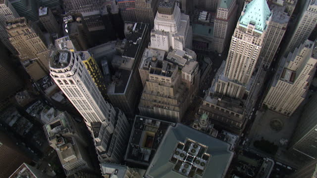 aerial view downtown manhattan - financial district , new york, usa - skyscraper stock videos & royalty-free footage