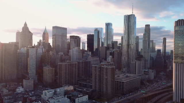 aerial view downtown new york - new york city stock-videos und b-roll-filmmaterial