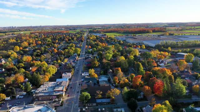 aerial view downtown st. jacobs and conestogo river in waterloo, ontario, canada - ontario canada stock videos & royalty-free footage