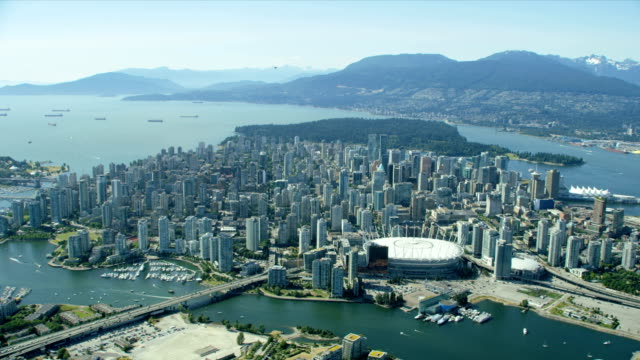 aerial view downtown vancouver british columbia canada - vancouver canada stock videos & royalty-free footage