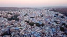Aerial view Drone 4k of Blue City village In Jodhpur, Rajasthan.