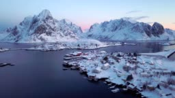 Aerial view drone fly to Reine Village on the Lofoten Islands, Norway