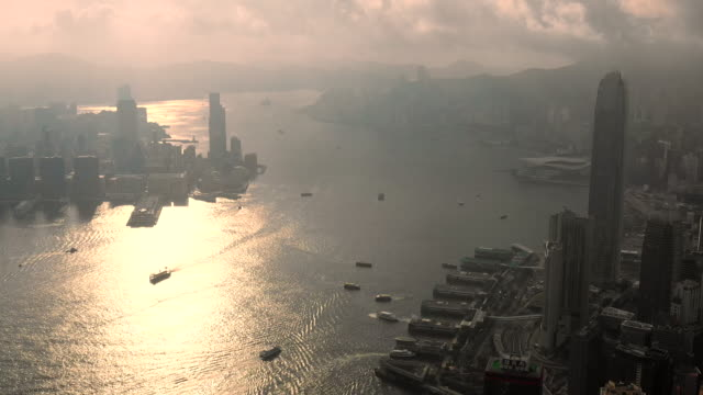 aerial view drone footage hong kong buildings city ,business and financial centers in asia - hong kong stock videos & royalty-free footage