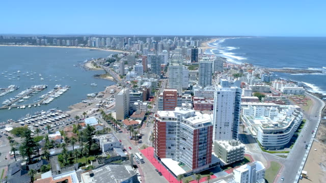 aerial view, drone point of view, port of punta del este, uruguay - uruguay stock videos & royalty-free footage