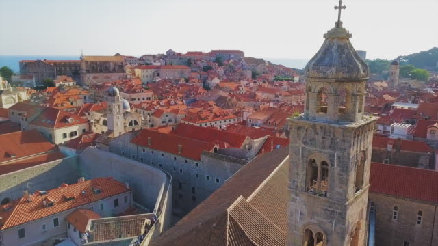 aerial view dubrovnik bell tower, city & harbor - wall building feature stock videos & royalty-free footage