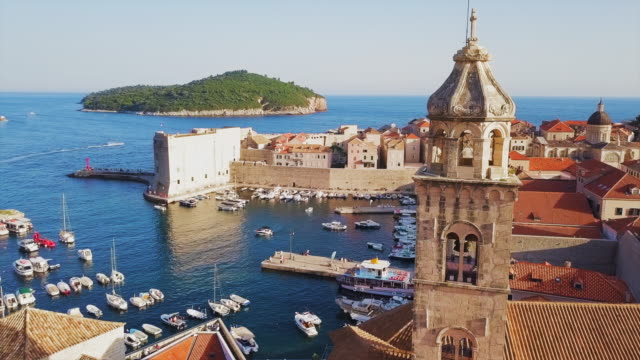 aerial view dubrovnik bell tower & harbor - croazia video stock e b–roll