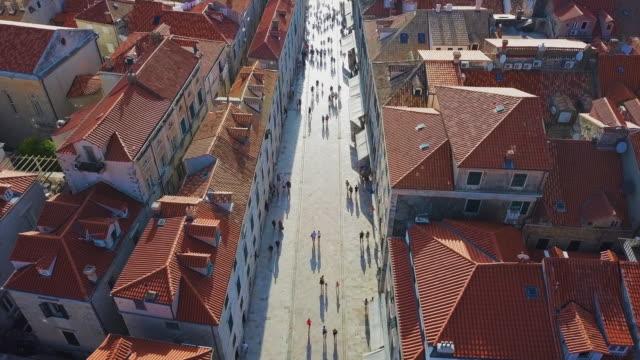 Aerial View Dubrovnik Main Street & Pedestrians
