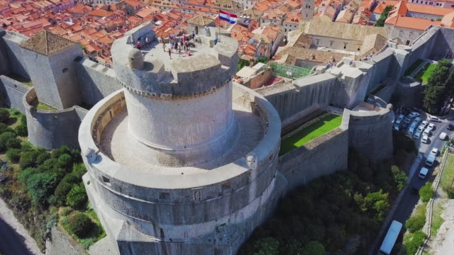 aerial view dubrovnik old town wall tower & turret - bell tower tower stock videos and b-roll footage