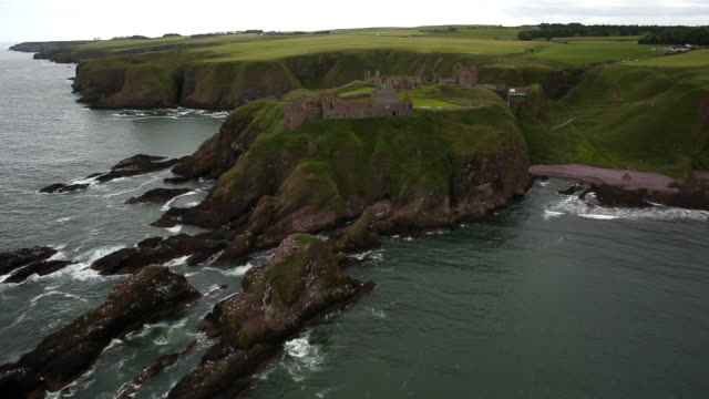 Aerial View Dunnottar Castle & Landscape from the Ocean