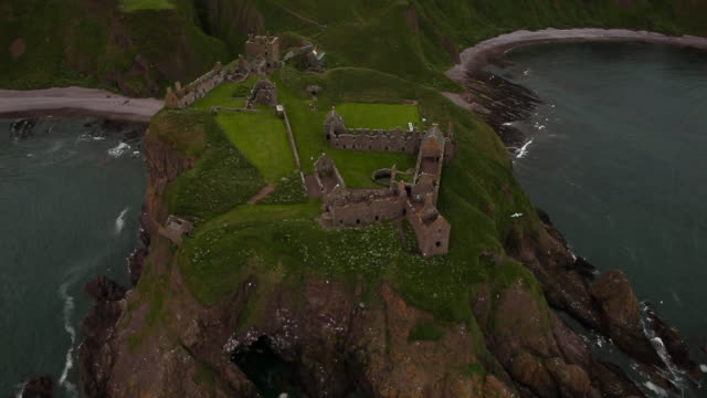 Aerial View Dunnottar Castle Ruins in Scotland