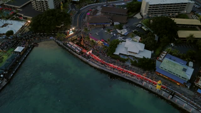 aerial view during the finish of ironman world championships 2018, hawaii, usa - big island hawaii islands stock videos & royalty-free footage