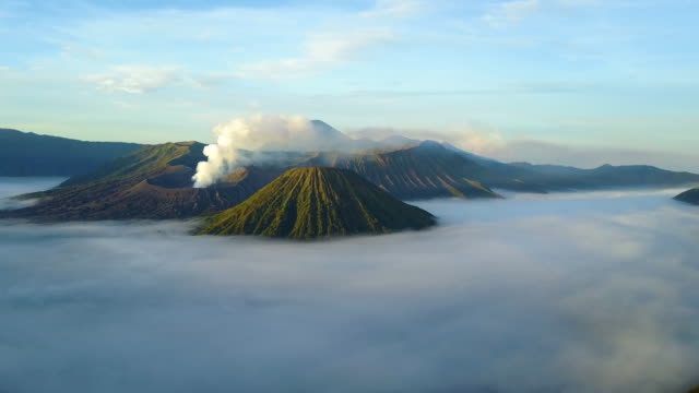aerial view east of mount bromo, east java, indonesia - indonesia volcano stock videos & royalty-free footage