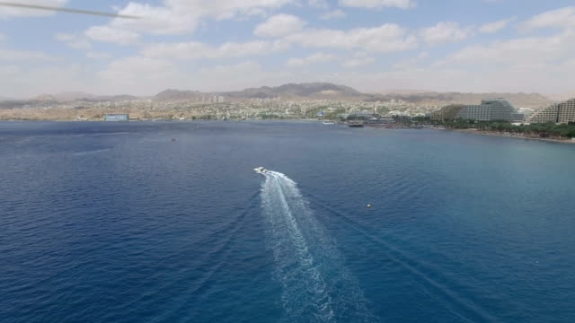 aerial view - eilat city and gulf of eilat ,with jordan mountains in the background - red sea stock videos & royalty-free footage