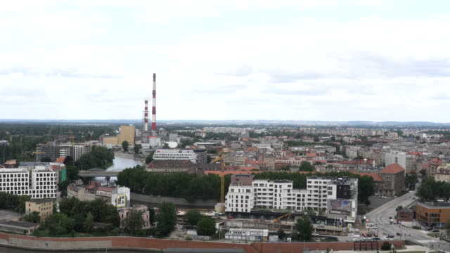 aerial view: electric plant in wroclaw city , poland - eastern european culture stock videos & royalty-free footage