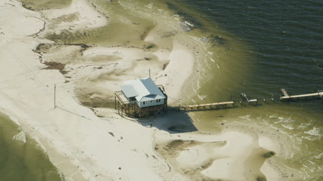 aerial view elevated home st george sound florida - inlet stock videos & royalty-free footage
