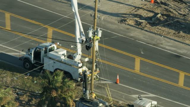 aerial view emergency utility service trucks hurricane michael - 2018 stock videos & royalty-free footage