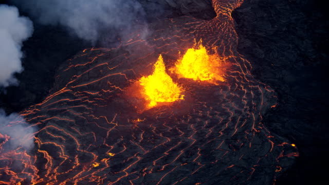 aerial view emissions of poisonous gases open fissures - erupting stock videos & royalty-free footage