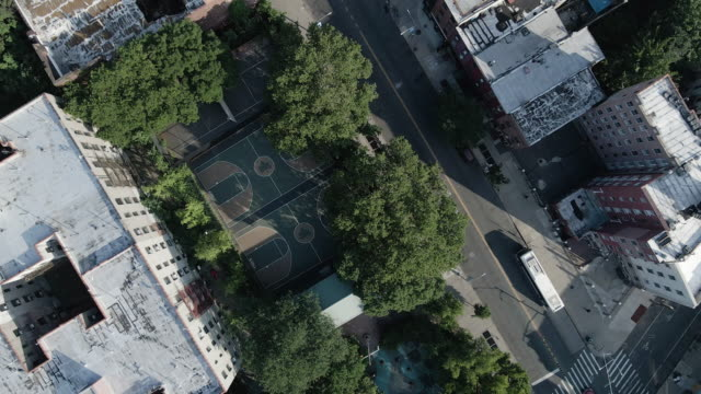 aerial view empty basketball court brooklyn - sports court stock videos & royalty-free footage