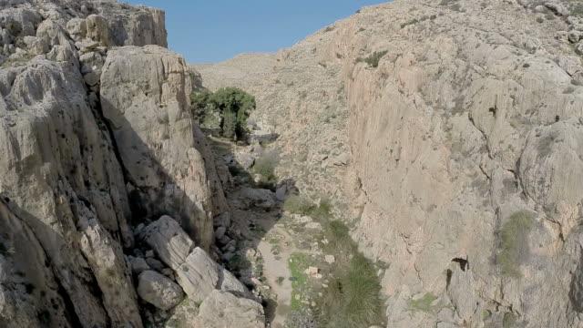 aerial view, en prat nature reserve, wadi qelt, running west to east across the judaean desert in the west bank. - avvenimento biblico video stock e b–roll