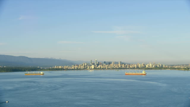 aerial view english bay vancouver british columbia canada - anchored stock videos & royalty-free footage