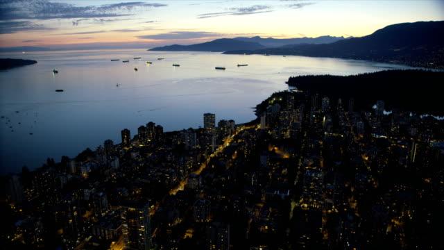 aerial view english bay vancouver british columbia canada - vancouver canada stock videos & royalty-free footage