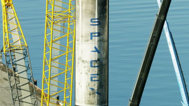 aerial view falcon 9 reusable rocket booster la - pier stock videos & royalty-free footage