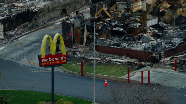 aerial view fast food sign campfire wildfire paradise - town stock videos & royalty-free footage