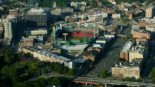 vídeos de stock, filmes e b-roll de aerial view fenway park red sox boston massachusetts - boston massachusetts