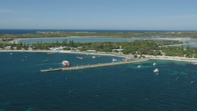 aerial view ferry docking rottnest island pier perth - ferry stock videos & royalty-free footage