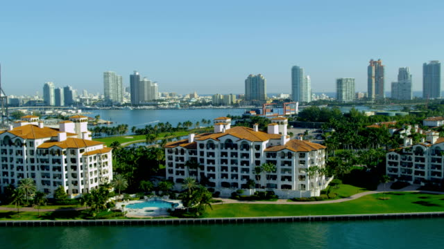 Aerial view Fisher Island apartments Biscayne Bay Miami