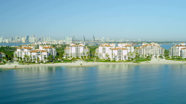aerial view fisher island luxury apartments miami florida - biscayne bay stock videos & royalty-free footage