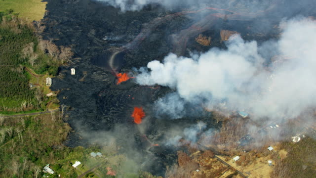 aerial view fissure hot volcanic lava activity hawaii - tectonic stock videos & royalty-free footage