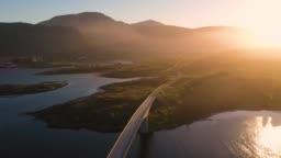 aerial view. flight over Fredvang bridge, Lofoten Islands, Norway,