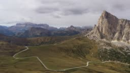 aerial view. fly over  Pass Giau, Dolomites Alps  , Italy