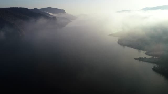 Aerial View, Flying along Beautiful Landscape of Fjords, Mountain hills Rising Up from the Water Surface, Seascape, Sunrise-Dawn, Beauty in Nature, Travel Destinations, Adventure, Travel, Exploration, Sun