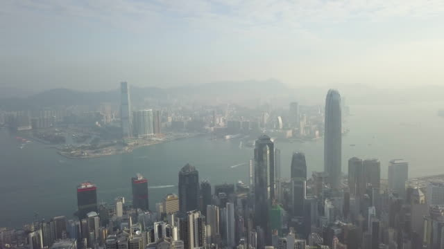 Aerial view flying over Hong Kong City