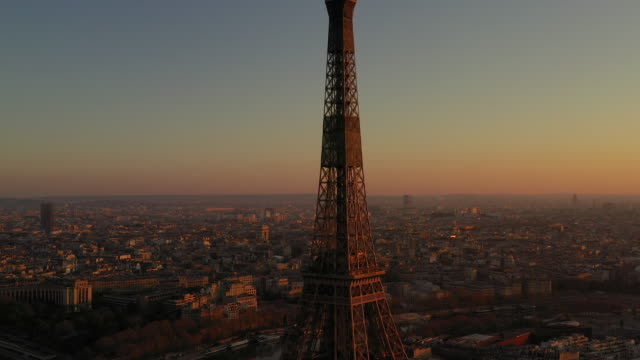 aerial view flying over paris france looking at the eiffel tower, sunrise - river stock videos & royalty-free footage