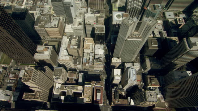 Aerial view flying over skyscrapers in San Francisco's Financial District.