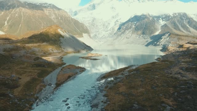 aerial view flying over snow melt rivers - new zealand stock videos & royalty-free footage