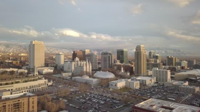 Aerial view flying towards downtown Salt Lake City Utah