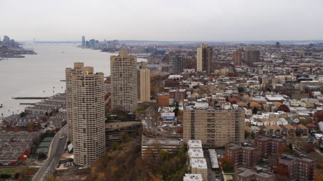Aerial view following the coast of the Hudson south from Guttenberg, NJ. Shot in 2011.