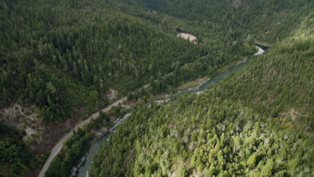 Aerial view following the South Fork Smith River in Del Norte County through the verdant Six Rivers National Forest.