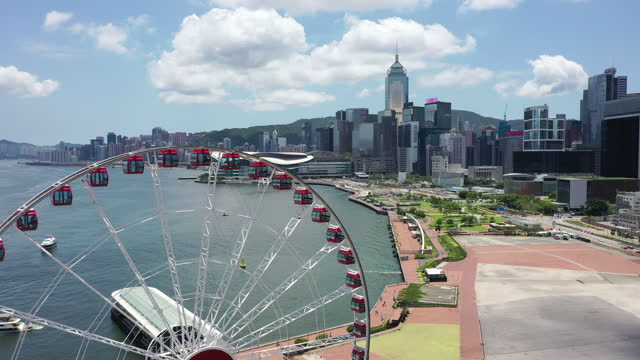 aerial view footage of central district in hong kong - big wheel stock videos & royalty-free footage