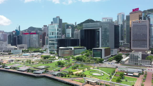 aerial view footage of central district in hong kong - tower stock videos & royalty-free footage