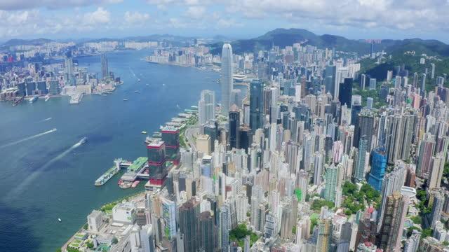 luftaufnahmen von hong kong city - insel hong kong island stock-videos und b-roll-filmmaterial