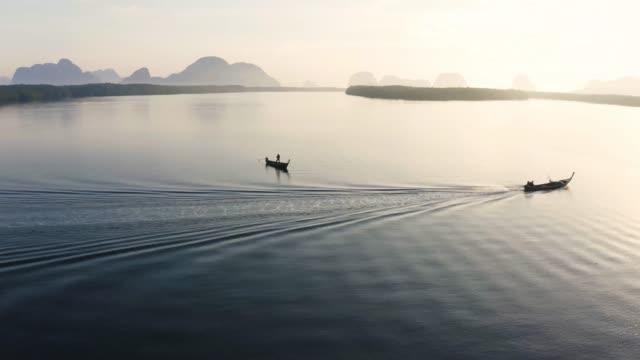 """4k aerial view footage of :sam chong tai"""" fisherman village in phang nga, thailand. - phuket stock videos & royalty-free footage"""