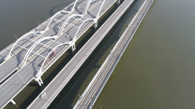 Aerial view for E 3rd ring road bridge cross Bahe River