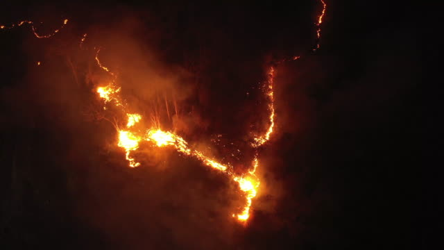 aerial view forest fire in night time - arid stock videos & royalty-free footage