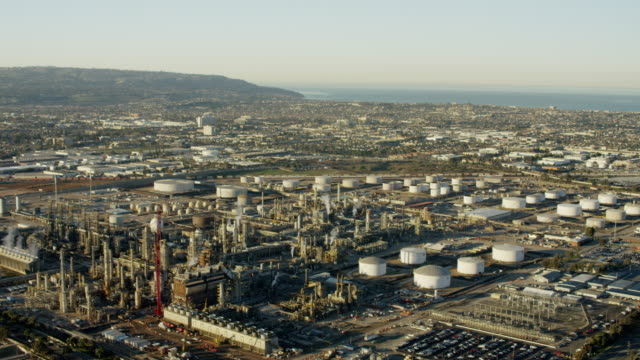 Aerial view fossil fuel refinery plant Los Angeles