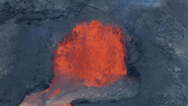 Aerial view fountain of natural red hot lava
